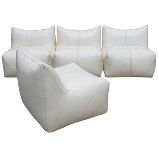 Seven Piece Mario Bellini B&b Italia White Leather Le Bambole Sectional