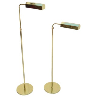Pair of Polished Brass Adjustable Floor Lamps For Sale