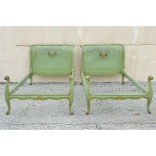 Antique French Louis XV Green Distress Painted European Twin Bed Frames - a Pair Preview