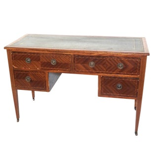 19th C. Antique English Hepplewhite Style Inlaid Leather Top Writing Desk