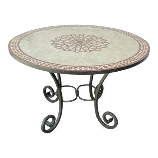 Moroccan Mosaic Outdoor Table in Red Fez Moorish Design For Sale