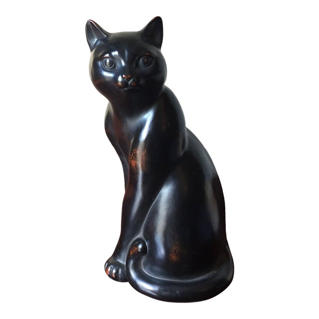 Fitz and Floyd Vintage Ceramic Hand Painted Black Cat Figural For Sale