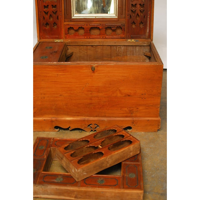 British Colonial Teak Travel Trunk/Chest - Image 8 of 9