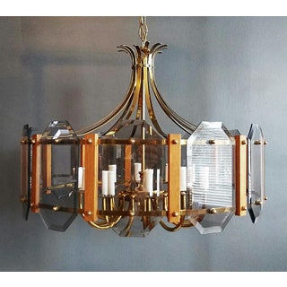 1970s Teak Accented Brass & Glass Chandelier Preview