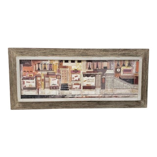 "Margaret Layton ""Parker Street"" New York City Gouache Painting on Board C.1950s For Sale"