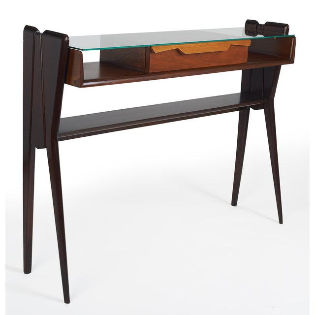 Wood Italian 1950s Ico Parisi Att., Biomorphic Three-Tone Rosewood and Glass Console For Sale - Image 7 of 7