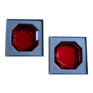 Vintage Restoration Hardware Red Glass Valentine Candleholders - a Pair For Sale