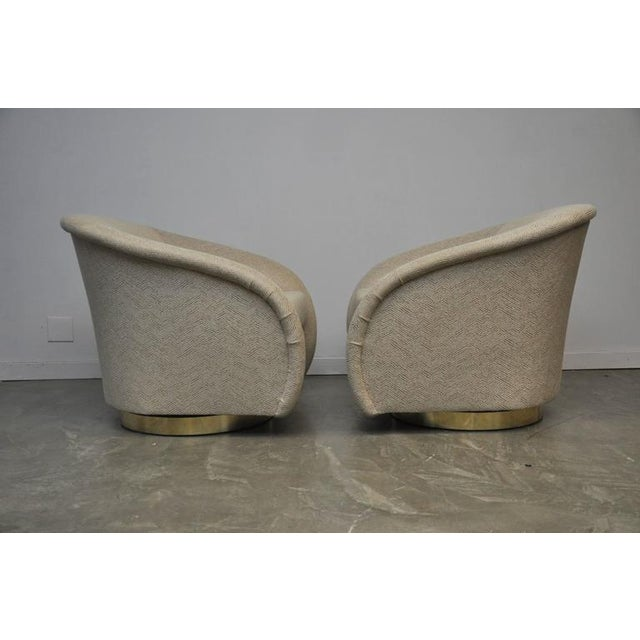 Pair of Milo Baughman Swivel Chairs on Brass Bases For Sale - Image 5 of 8