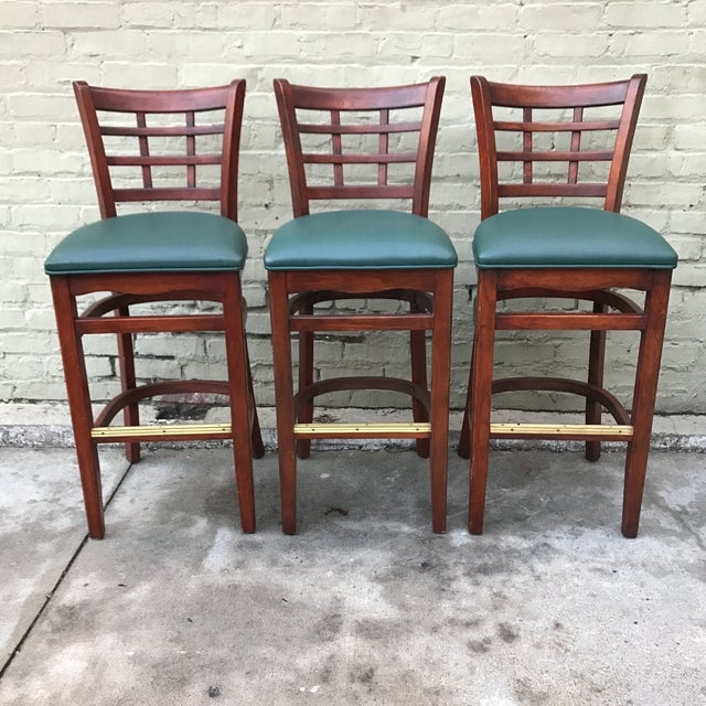 Mahogany Upholstered Barstools - Set of 3 - Image 3 of 3