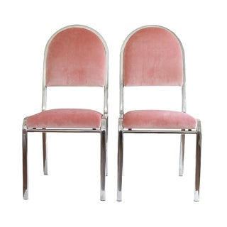 Pink Velvet Chairs - A Pair