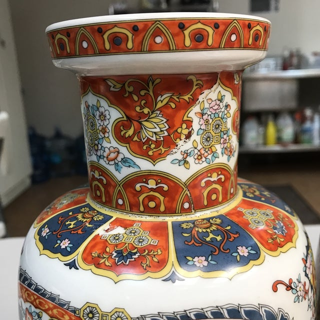 Asian Ardalt Chinoiserie Hand Painted Vases - A Pair For Sale - Image 3 of 10