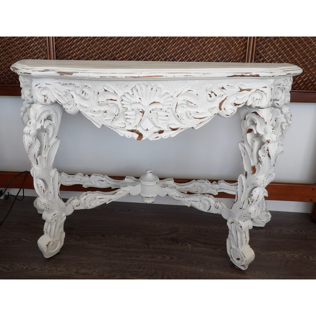 Wood Late 20th Century Hand Carved White Distressed Finish Console Table For Sale - Image 7 of 7