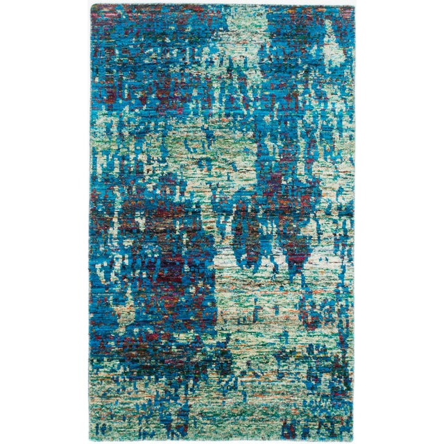 Hand-Knotted Sari Silk Indian Rug - 4′11″ × 8′1″ - Image 1 of 2