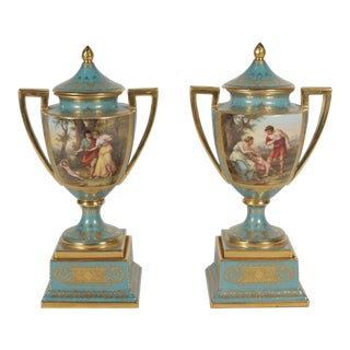 19th Century Louis XVI Hand Painted and Gilt Porcelain Urns - a Pair