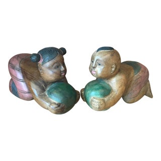 Pair of Chinese Babies Hand Carved and Painted Teak Bookends Statues For Sale