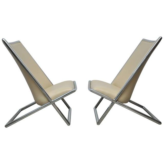 Metal Ward Bennett Scissor Chairs For Sale - Image 7 of 7