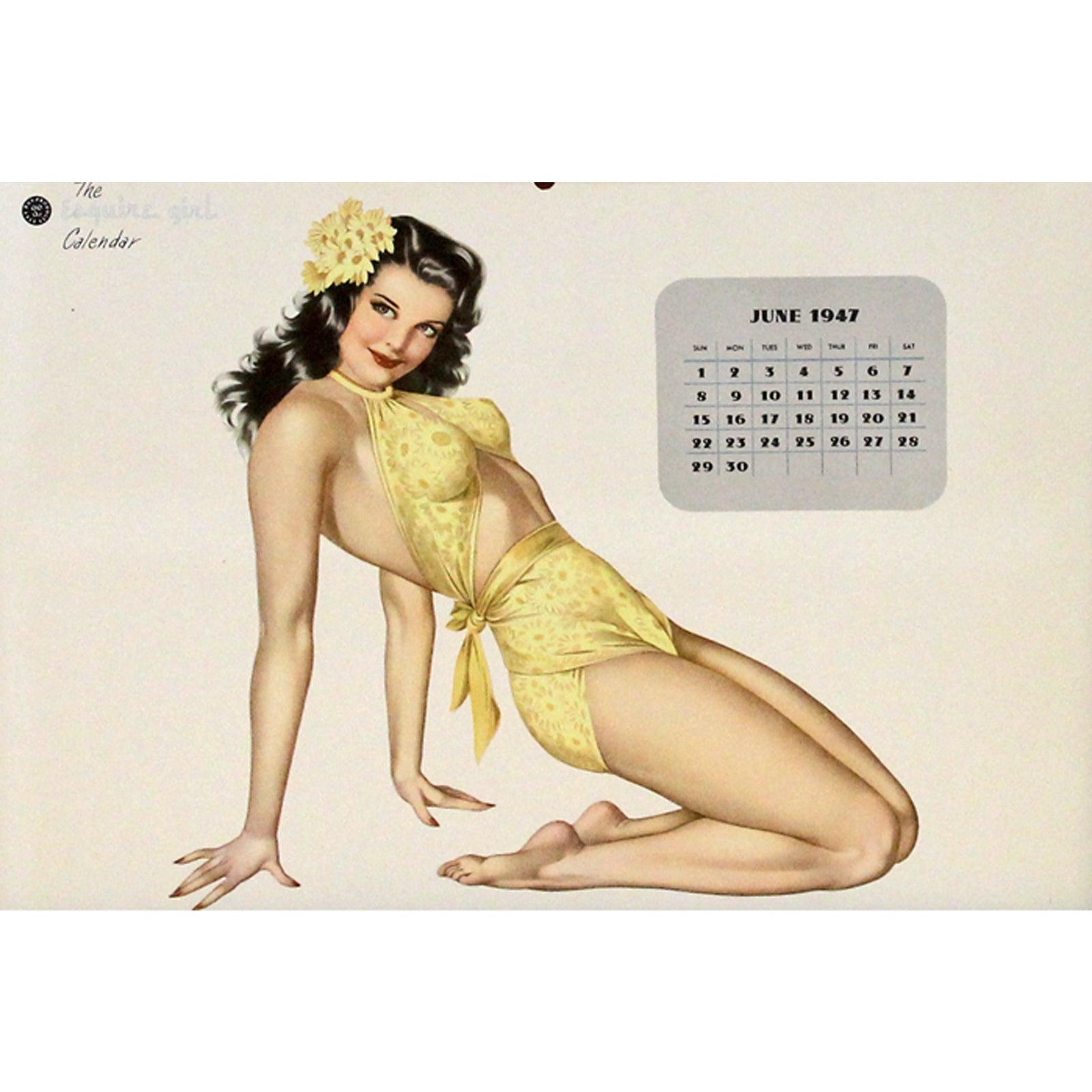 Calendar Girl June Kindle : Miss june pin up girl calendar chairish