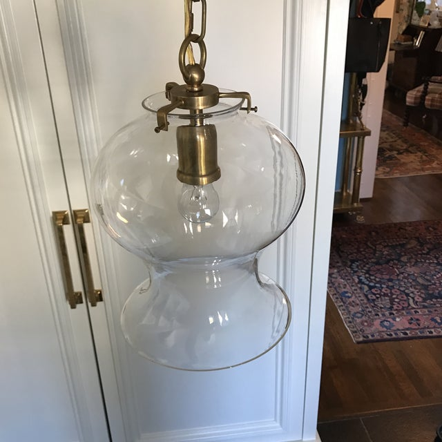 Hand-Rubbed Antique Brass Pendant Ceiling Light - Image 2 of 8