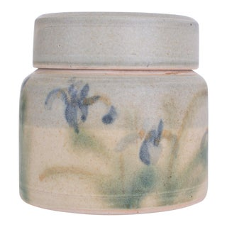 20th Century Boho Chic Hand Thrown Trinket Box With Flowers For Sale