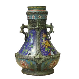 Chinese Metal Blue Enamel Cloisonne Flowers Theme Vase Display