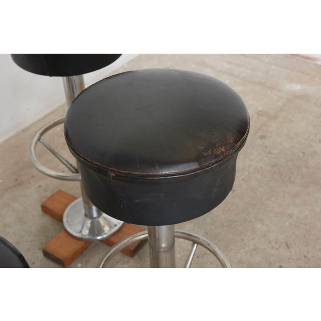 Silver Set of Five Belgium Revolving Barstools, 1960s For Sale - Image 8 of 11