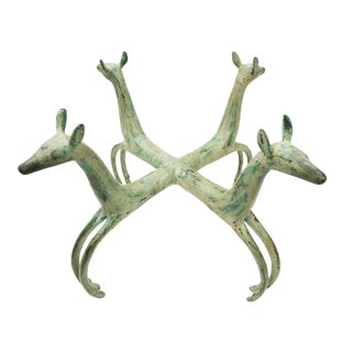 Armand Rateau Style Bronze Brass Deer Coffee Table Base For Sale