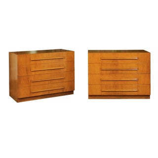 Coveted Pair of Saffron Walnut Chests by Robsjohn-Gibbings for Widdicomb For Sale