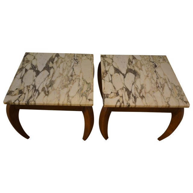 Mid-Century Marble and Walnut Side Tables - A Pair - Image 1 of 10