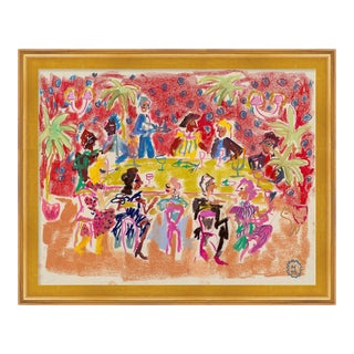 At a Dinner Party by Happy Menocal in Gold Frame, Medium Art Print For Sale