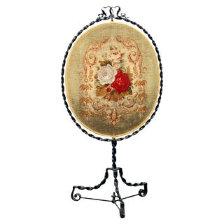 1880 French Louis XV Wrought Iron and Floral Petite Point Fire Screen For Sale