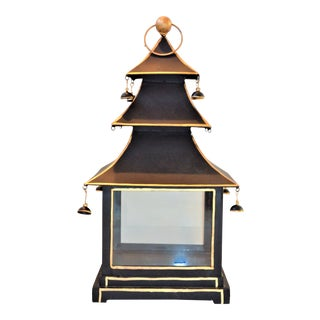 Vintage Chinoiserie Black and Gold Pagoda Hurricane Lantern For Sale