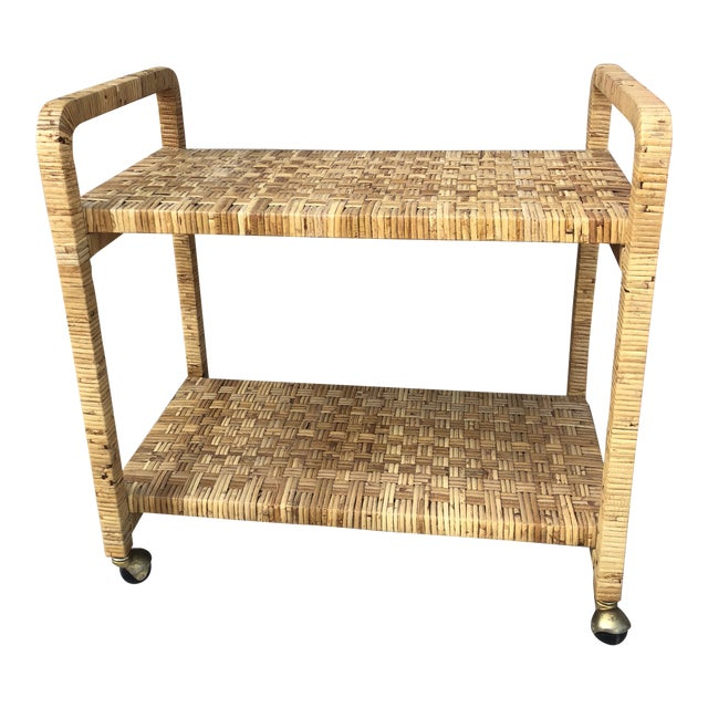 Vintage Rattan Two Shelves Rolling Drinks Cart For Sale