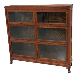 C.1900 Macey Antique Oak Double Barrister Bookcase