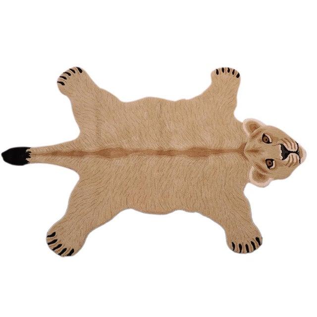 Boho Chic Lioness Shaped Animal Design Area Rug For Sale - Image 11 of 12