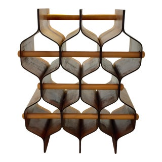 Swedish Bent Rosewood Honeycomb Wine Rack For Sale
