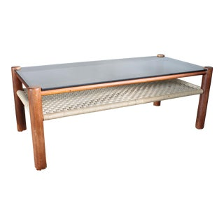 Danish Style Teak Frame Coffee Table For Sale