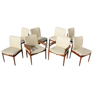 Set of Eight Danish Teak Leather Dining Chairs Finn Juhl Side and Armchairs For Sale