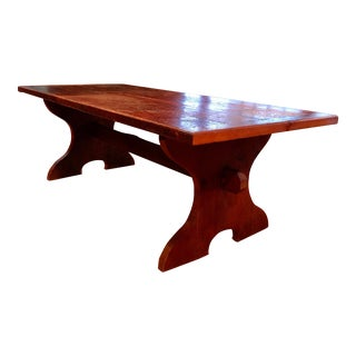 1980s Lodge Handmade Wooden Dining Table For Sale