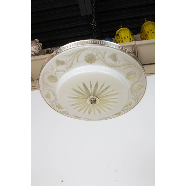White Hollywood Regency Flush Mount Fixtures - A Pair For Sale - Image 8 of 9