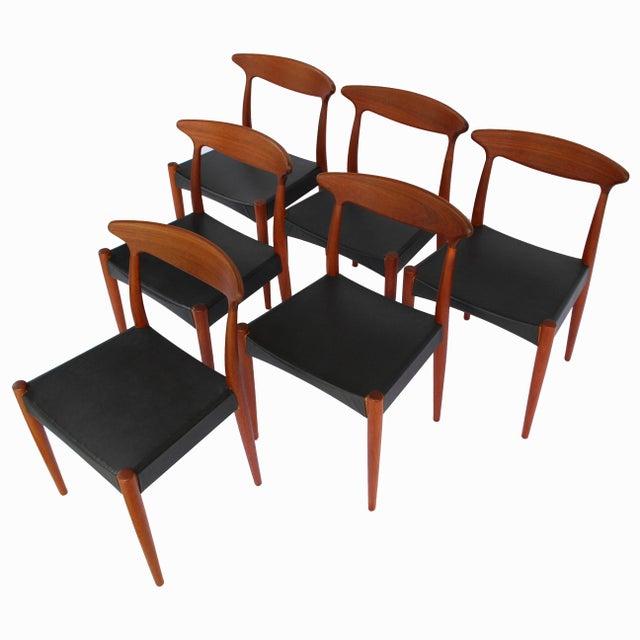 Mid-Century Modern 1960's Danish Mid-Century Modern Arne Hovmand-Olsen Model Mk 310 Teak Dining Chairs - Set of 6 For Sale - Image 3 of 13