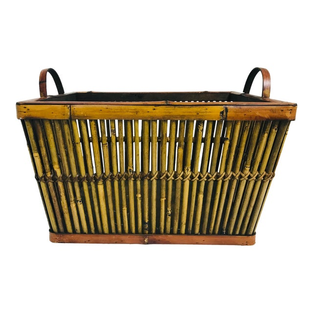 Vintage Hand Crafted Bamboo Basket For Sale