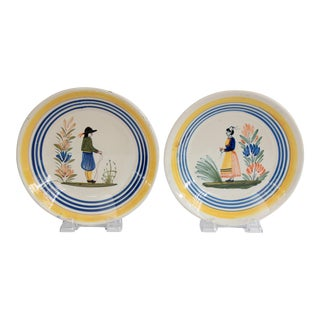 Antique French Quimper Plates - a Pair For Sale