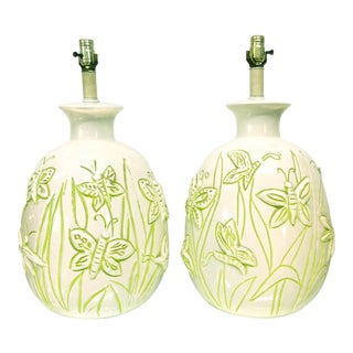Vintage Glazed Ceramic Butterfly Lamps White Background With Green Highlight - a Pair For Sale