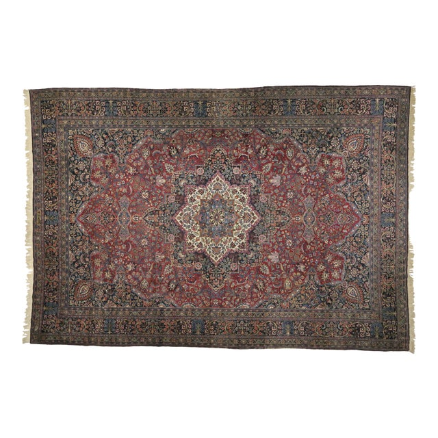 Antique Persian Mashhad Palace Rug - 13'01 X 18'11 For Sale
