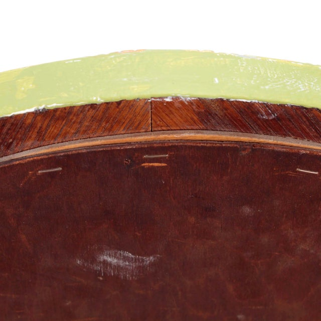 American Solid Oak Oval Mirror Circa 1900 Painted Celery Green, Cerused White & Gold Gilt For Sale - Image 3 of 6