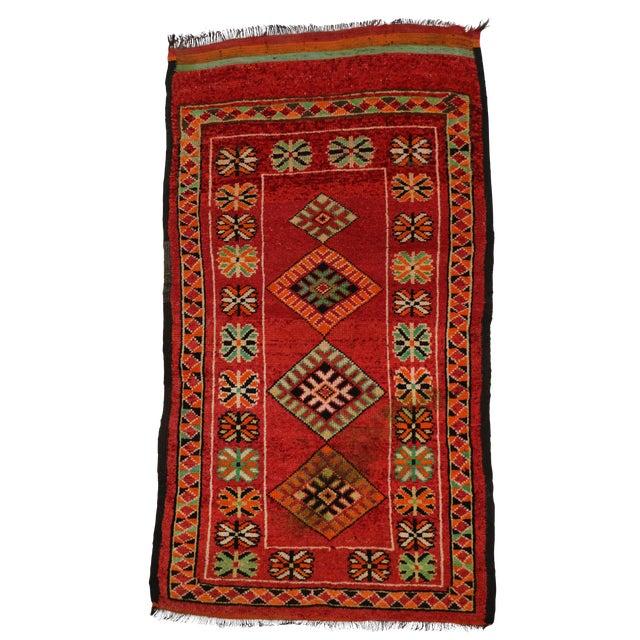 "Vintage Red Berber Moroccan Rug - 3'10"" x 6'6"" - Image 1 of 6"