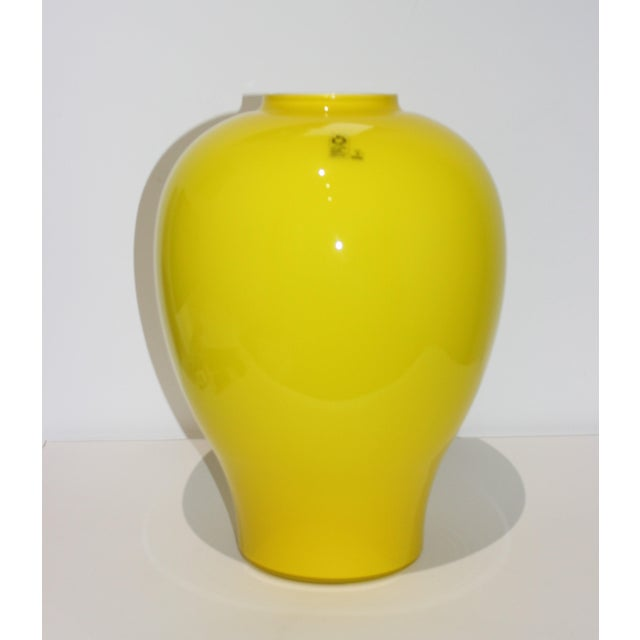 "Yellow Vetri Murano Glass Vase 17"" 1970s from a Palm Beach estate. NOTE: the last picture shows the vase in a staged..."