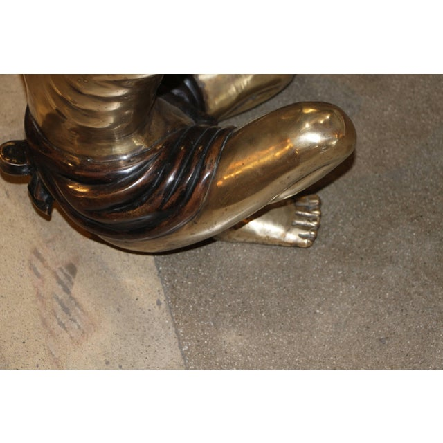 Brass Blackamoor Coffee Table Bases- A Pair For Sale - Image 4 of 8