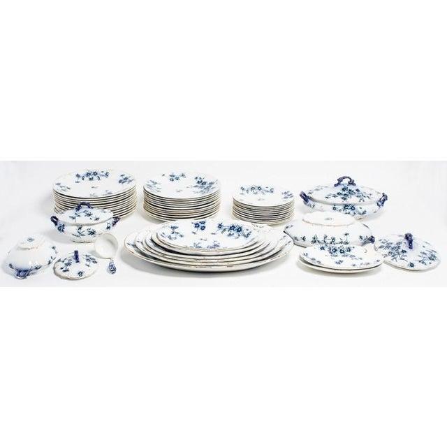 "Antique flow blue English china circa 1860. 12 Dinner Plates-10.5"" 12 Salad Plates-9.75"" 11 Dessert Plates-7.75"" 2 Covered..."