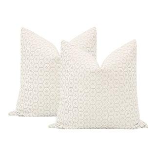 "22"" Paloma Cut Velvet Alabaster Pillows - a Pair For Sale"